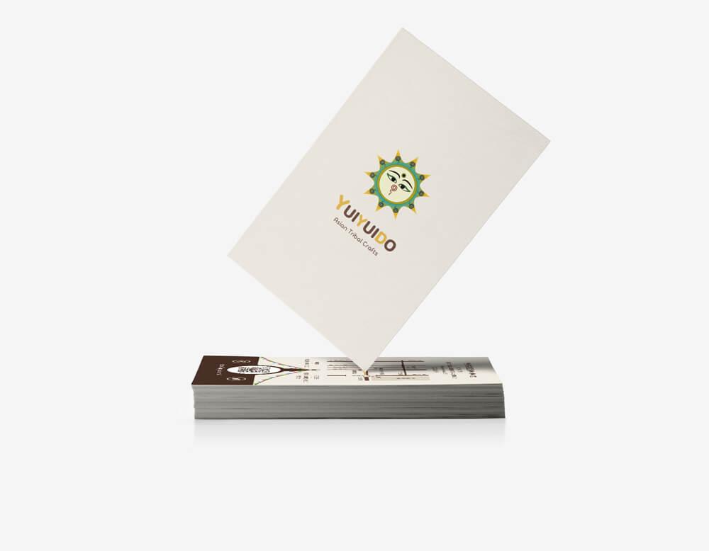 京都丸太町の少数民族雑貨店「旅する雑貨屋ゆいゆい堂」のショップカードデザイン